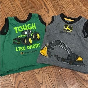 Two John Deere tank tops